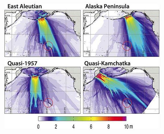 A series of simulations show how earthquakes ranging from a 9.0 to 9.6 magnitude in the Aleutian Islands could affect the Hawaiian Islands. The red circle encompasses the island of Kauai and the Big Island.
