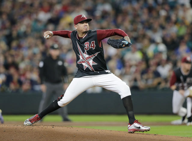Seattle Mariners starting pitcher Felix Hernandez works against the Kansas City Royals during the first inning of a baseball game Saturday, June 30, 2018, in Seattle. (AP Photo/John Froschauer)