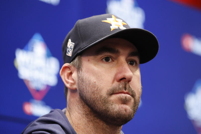 Houston Astros starting pitcher Justin Verlander speaks during a news conference before Game 5 of the baseball World Series against the Washington Nationals Sunday, Oct. 27, 2019, in Washington. (AP Photo/Alex Brandon)