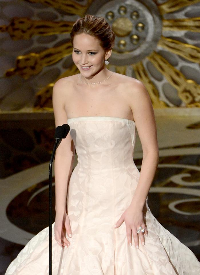 HOLLYWOOD, CA - FEBRUARY 24:  Actress Jennifer Lawrence presents onstage during the Oscars held at the Dolby Theatre on February 24, 2013 in Hollywood, California.  (Photo by Kevin Winter/Getty Images)