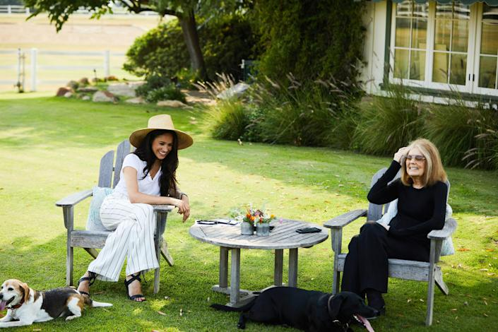 Meghan, The Duchess of Sussex, her dog Guy and Gloria Steinem in conversation. (Photo by Matt Sayles; copyright The Duke and Duchess of Sussex)