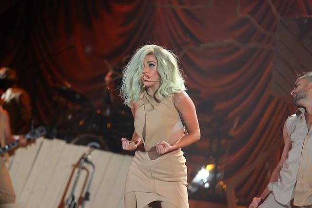 "Lady Gaga on stage during ""A Decade of Difference"" concert, at the Hollywood Bowl. (Adam Schultz / Clinton Foundation)"