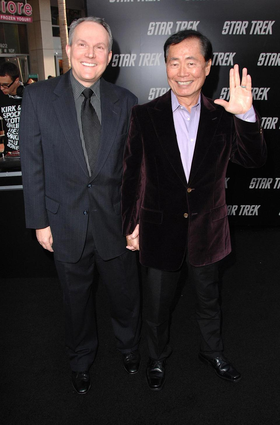 <p>George Takei and husband Brad Altman at the premiere, almost 20 years after Takei last stepped into the role as Hikaru Sulu. <i>(Photo: Steve Granitz/WireImage)</i></p>