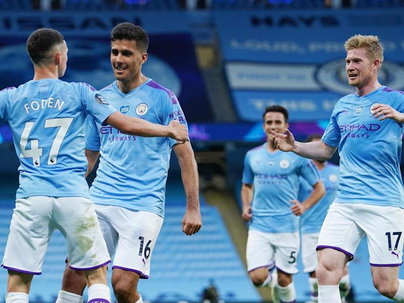 Phil Foden of Manchester City celebrates with Rodrigo and Kevin De Bruyne: 2020 Pool