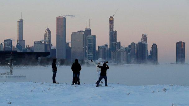 PHOTO: People enjoy at the Lake Michigan at 31st Street Harbor, Wednesday, Jan. 30, 2019, in Chicago. (AP)