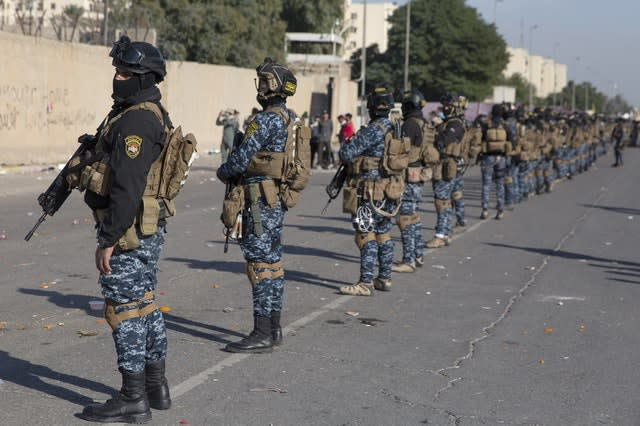 Iraqi security forces are deployed in front of the US embassy in Baghdad