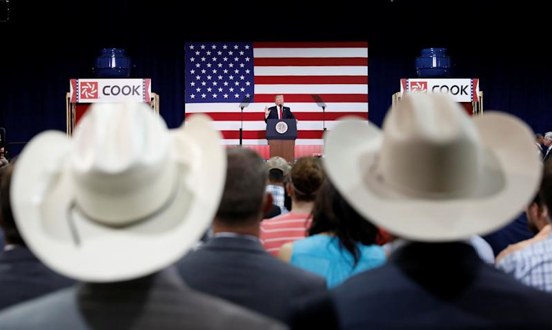 President Donald Trump speaks about tax reform during a visit to Loren Cook Company in Springfield, Missouri,on Wednesday.