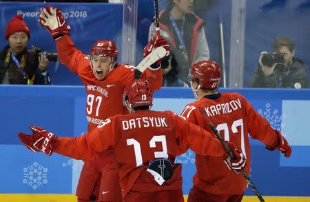 Ice Hockey - Pyeongchang 2018 Winter Olympics - Men Final Match - Olympic Athletes from Russia v Germany - Gangneung Hockey Centre, Gangneung, South Korea - February 25, 2018 - Olympic Athlete from Russia Nikita Gusev reacts after scoring. REUTERS/David W Cerny