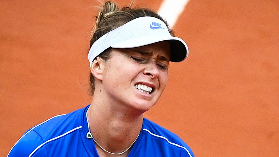 Pictured here, Elina Svitolina looks disappointed during her French Open quarter-final.
