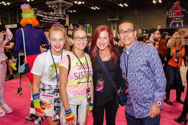 Tessa and Milena, 12-year-old twins from Staten Island, hit RuPaul's DragCon with their parents, Tara and Alex. (Photo: The Drunken Photographer for Yahoo)