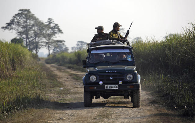 "In this Saturday, Dec. 1, 2012 photo, forest guards patrol inside the Kaziranga National Park, a wildlife reserve that provides refuge to more than 2,200 endangered Indian one-horned rhinoceros, in the northeastern Indian state of Assam. Even in this well protected reserve, where rangers follow shoot-to-kill orders, poachers are laying siege to ""Fortress Kaziranga,"" attempting to sheer off the animals' horns to supply a surge in demand for purported medicine in China that's pricier than gold. A number of guards have been killed along with 108 poachers since 1985 while 507 rhino have perished by gunfire, electrocution or spiked pits set by the poachers, according to the park. (AP Photo/Anupam Nath)"