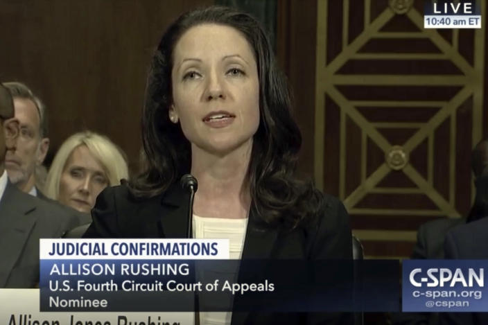 In this image provided by C-SPAN, Allison Jones Rushing speaks during her confirmation hearing before the Senate Judiciary Committee to be a judge on the U.S. Fourth Circuit Court of Appeals on Capitol Hill in Washington, on March 21, 2019. (C-SPAN via ap)