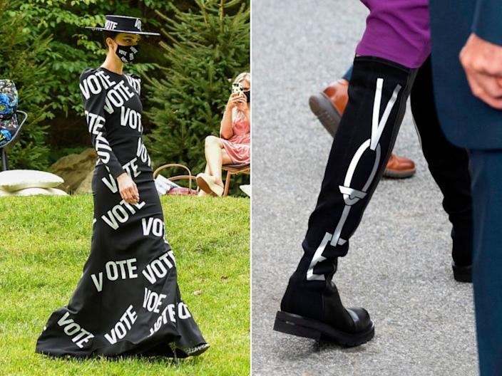 """A model wears a """"vote"""" gown in Christian Siriano's backyard fashion show on September 17; Stuart Weitzman """"Vote"""" boots worn by Jill Biden on September 14. <p class=""""copyright"""">Jamie McCarthy/Getty Images for Christian Siriano; JIM WATSON/AFP via Getty Images</p>"""