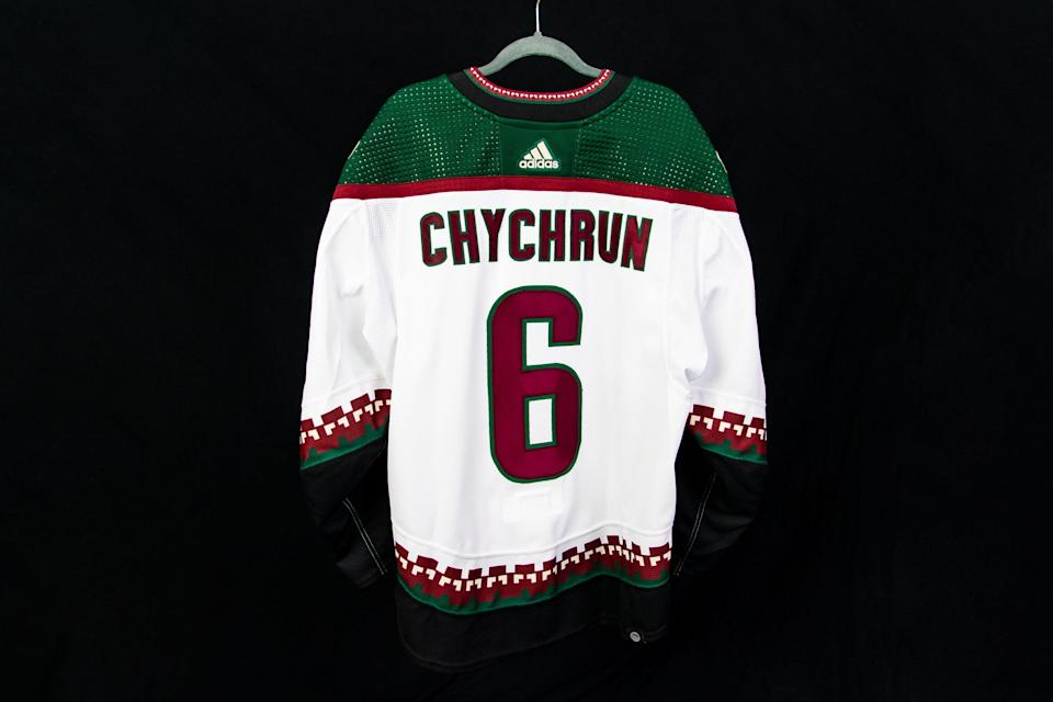 The Coyotes have brought back the road white Kachina jerseys as part of their rebranding, and will wear them in the home opener on Oct. 18.