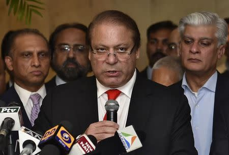 File photo of Pakistan's PM Sharif speaking with the media during a news conference in New Delhi