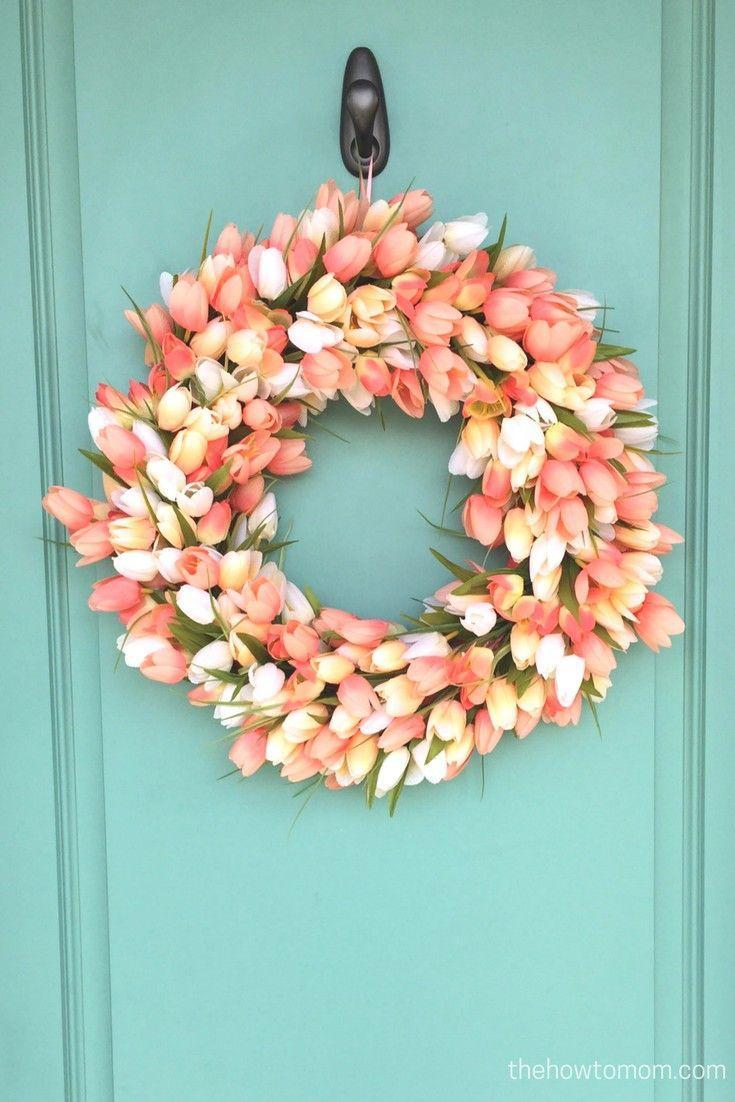 """<p>Welcome guests to your Easter party with a tulip wreath so lush, no one will notice they're faux. Bonus: The fact that the blooms are artificial means they'll last well past the holiday.</p><p><strong>Get the tutorial at <a href=""""https://www.thehowtomom.com/2017/02/diy-tulip-wreath.html"""" rel=""""nofollow noopener"""" target=""""_blank"""" data-ylk=""""slk:The How-To Mom"""" class=""""link rapid-noclick-resp"""">The How-To Mom</a>.</strong></p><p><strong><a class=""""link rapid-noclick-resp"""" href=""""https://www.amazon.com/s?k=artificial+flowers&ref=nb_sb_noss&tag=syn-yahoo-20&ascsubtag=%5Bartid%7C10050.g.4088%5Bsrc%7Cyahoo-us"""" rel=""""nofollow noopener"""" target=""""_blank"""" data-ylk=""""slk:SHOP ARTIFICIAL FLOWERS"""">SHOP ARTIFICIAL FLOWERS</a><br></strong></p>"""