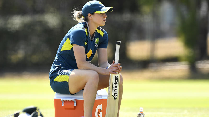 Ellyse Perry, pictured here during an Australian Women's T20 training session at Allan Border Field.