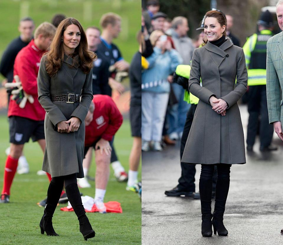 <p>Middleton first wore this olive Reiss overcoat with a belt in in January 2014, then reupping the number in November 2015 without a waist-cincher. </p>