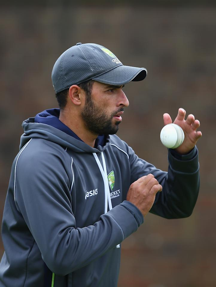 BIRMINGHAM, ENGLAND - SEPTEMBER 10:  Fawad Ahmed of Australia in action during a net session ahead of the third NatWest One Day International Series match between England and Australia at Edgbaston on September 10, 2013 in Birmingham, England.  (Photo by Clive Mason/Getty Images)