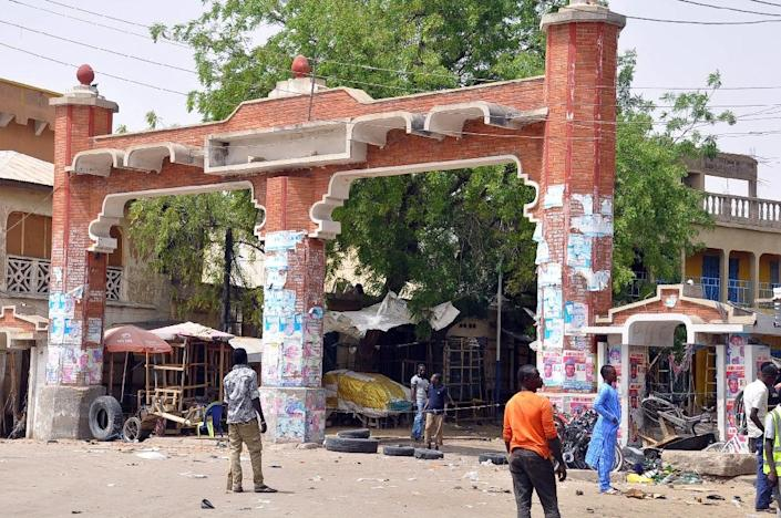 The main gate to the Monday Market is closed on March 7, 2015 after a blast in Maiduguri, Nigeria (AFP Photo/Tunji Omirin)