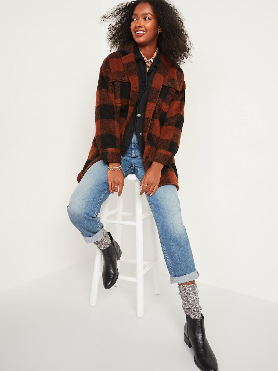 <p>The <span>Oversized Soft-Brushed Plaid Long Shirt Jacket </span> ($58, originally $70) is lightweight, so it's a good throw-on-and-go piece in early fall.</p>
