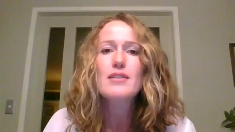 Emily Beswick is seen during her online interview with Real Press. Source: Real Press