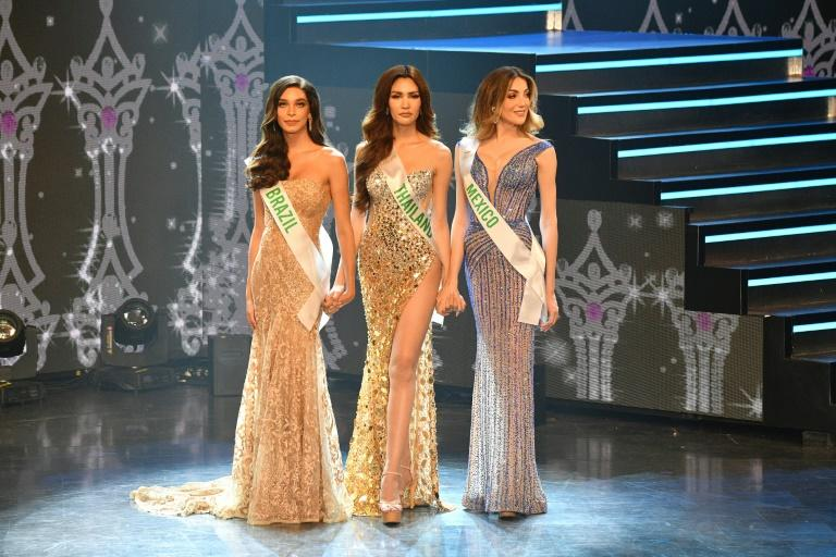 Finalists (L-R) Brazil's Ariella Moura, Thailand's Ruethaipreeya Nuanglee and Mexico's Valentina Fluchaire compete in the Miss International Queen 2020 contest