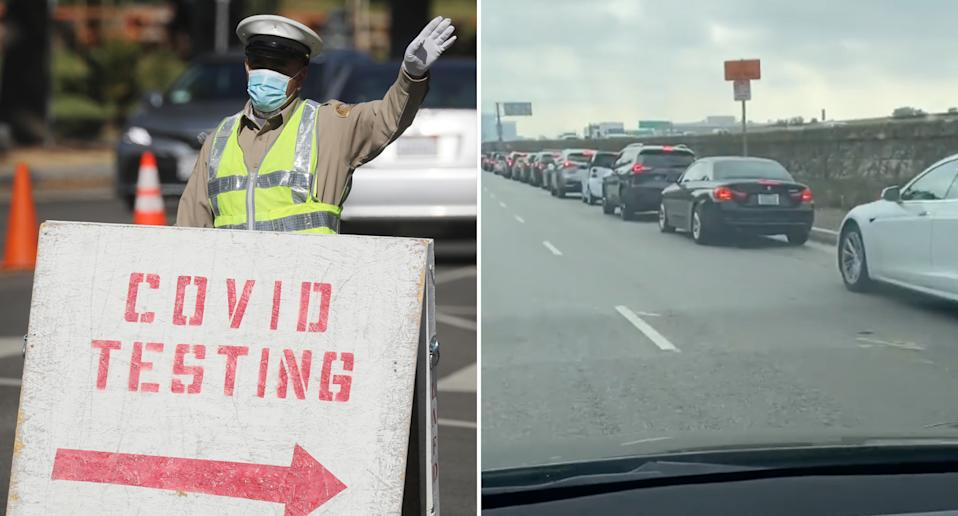 A man filmed long queues of cars waiting to get into a covid-19 testing clinic in LA