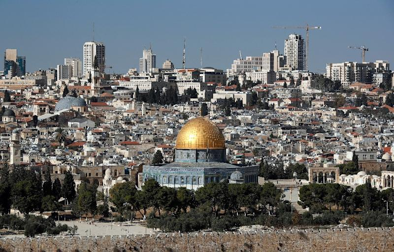 The Dome of the Rock and the Al-Aqsa mosque, a highly contested site at the centre of the Israeli-Palestinian conflict, seen in a general view of Jerusalem on December 1, 2017