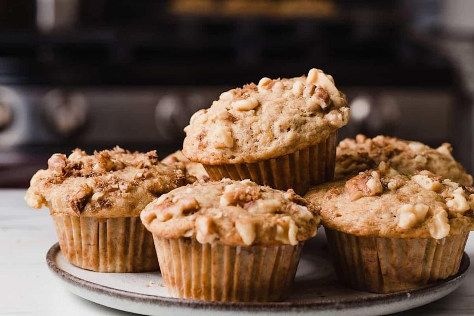 """<a href=""""https://littlespoonfarm.com/sourdough-banana-nut-muffins-recipe/"""" rel=""""nofollow noopener"""" target=""""_blank"""" data-ylk=""""slk:Sourdough Banana Nut Muffins"""" class=""""link rapid-noclick-resp""""><h2>Sourdough Banana Nut Muffins</h2></a> <br>A nice alternative <a href=""""https://www.refinery29.com/en-gb/easy-recipes-to-bake-during-quarantine"""" rel=""""nofollow noopener"""" target=""""_blank"""" data-ylk=""""slk:when you don't fancy making banana bread"""" class=""""link rapid-noclick-resp"""">when you don't fancy making banana bread</a>, and you don't need to have ripe bananas to make them. <br><br>Recipe here by <a href=""""https://littlespoonfarm.com/sourdough-banana-nut-muffins-recipe/"""" rel=""""nofollow noopener"""" target=""""_blank"""" data-ylk=""""slk:Little Spoon Farm"""" class=""""link rapid-noclick-resp"""">Little Spoon Farm</a><br><br><br>"""