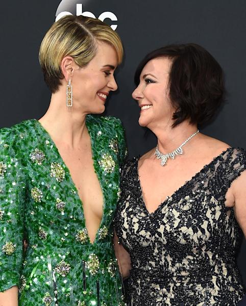 Sarah Paulson, left, and Marcia Clark arrive at the 68th Primetime Emmy Awards on Sunday, Sept. 18, 2016, at the Microsoft Theater in Los Angeles. (Photo by Jordan Strauss/Invision/AP)