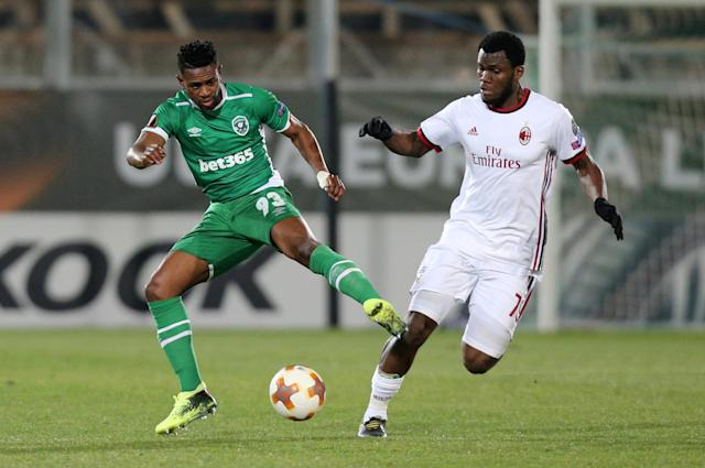 Soccer Football - Europa League Round of 32 First Leg - PFC Ludogorets Razgrad vs AC Milan - Ludogorets Arena, Razgrad, Bulgaria - February 15, 2018 Ludogorets' Virgil Misidjan in action with AC Milan's Franck Kessie REUTERS/Stoyan Nenov