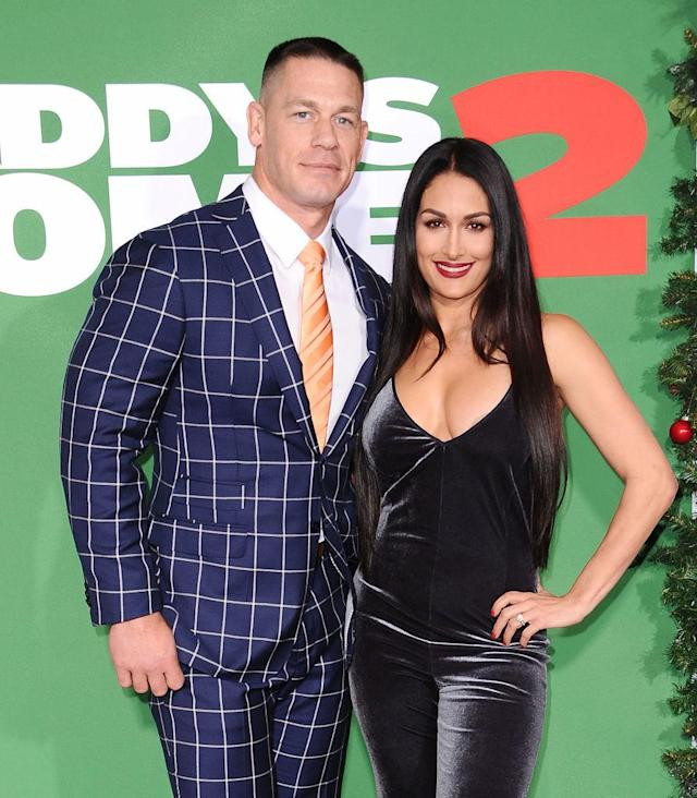 John Cena and Nikki Bella attend a movie premiere on Nov. 5, 2017. (Photo: Jason LaVeris/FilmMagic)