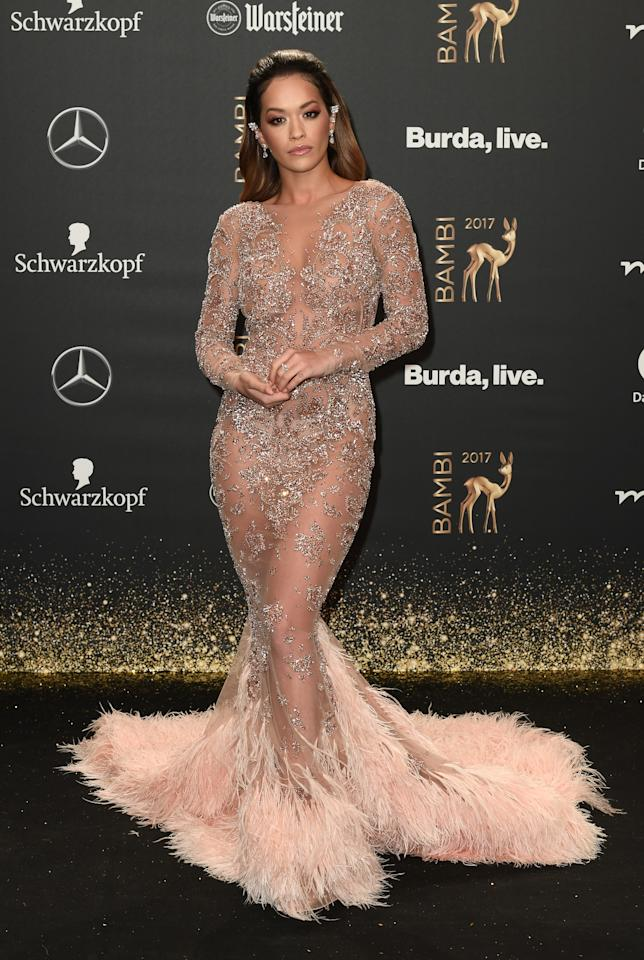 <p>The British singer wowed in a dramatic fishtail dress at the German event. <em>[Photo: Getty]</em> </p>