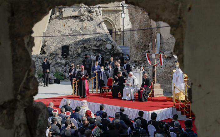 Pope Francis leads prayers surrounded by Mosul's destroyed churches - AP Photo/Andrew Medichini