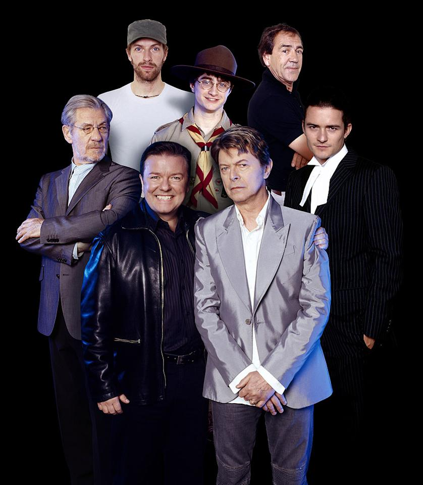 Ricky Gervais, Ian McKellen, Chris Martin, Daniel Radcliffe, Robert Lindsay, Orlando Bloom, and David Bowie HBO's Extras