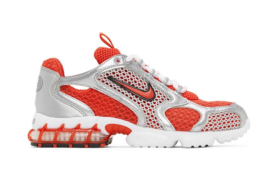 """$195, Ssense. <a href=""""https://www.ssense.com/en-us/men/product/nike/red-and-silver-nike-air-zoom-spiridon-cage-2-sneakers/4638571"""" rel=""""nofollow noopener"""" target=""""_blank"""" data-ylk=""""slk:Get it now!"""" class=""""link rapid-noclick-resp"""">Get it now!</a>"""