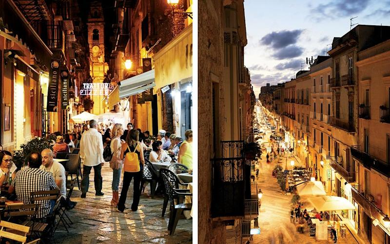 From left: Palermo's Via Orologio, part of the recently pedestrianized centro storico; restaurant tables lining the streets of Trapani.
