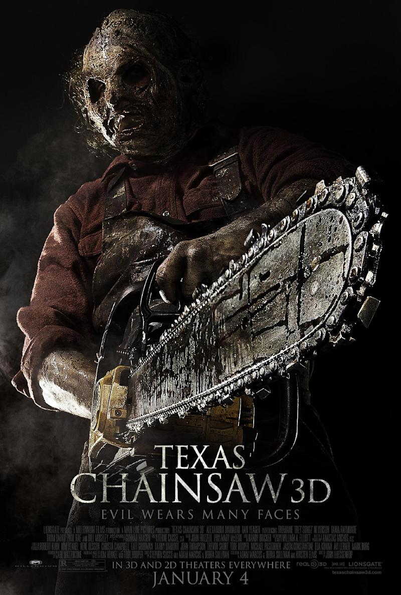 """This undated publicity film image from Lionsgate shows theatrical key art for a poster from the movie, """"Texas Chainsaw 3-D,"""" releasing in theaters on Friday, January 4, 2013. (AP Photo/Lionsgate)"""