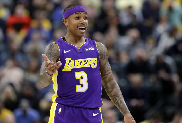 "FILE - In this Monday, March 19, 2018, file photo, Los Angeles Lakers' Isaiah Thomas argues a call during the first half of an NBA basketball game against the Indiana Pacers in Indianapolis. No fewer than 33 players will make more during the 2018-19 season than Thomas has made in his entire career. ""It's all good though.... I'll just stay on that slow grind,"" Thomas said on social media after agreeing with the Nuggets. (AP Photo/Darron Cummings, File)"