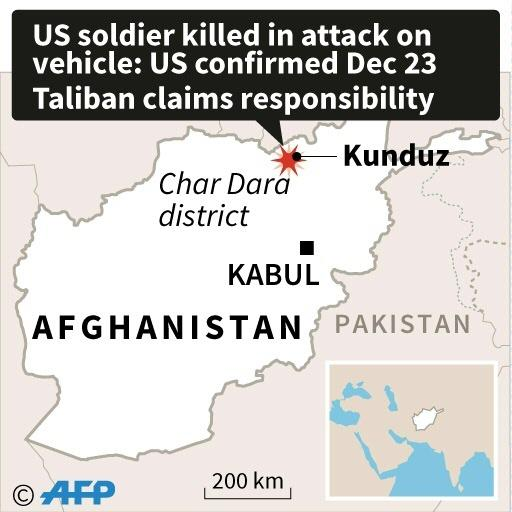 Map of Afghanistan locating where a US soldier was killed in an attack, confirmed Monday