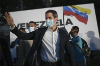 "FILE - In this Nov. 12, 2020, file photo, opposition leader Juan Guaido arrives to the ""Venezuela raises its voice"" campaign rally in the Terrazas del Avila neighborhood of Caracas, Venezuela. Guaido's opposition coalition is boycotting the upcoming Dec. 6 vote. (AP Photo/Matias Delacroix, File)"
