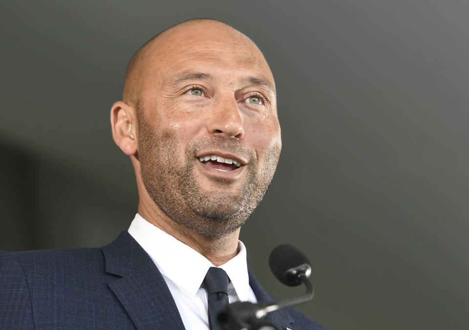 Hall of Fame inductee Derek Jeter speaks during an induction ceremony at the Clark Sports Center on Wednesday, Sept. 8, 2021, at the National Baseball Hall of Fame in Cooperstown, N.Y. (AP Photo/Hans Pennink)