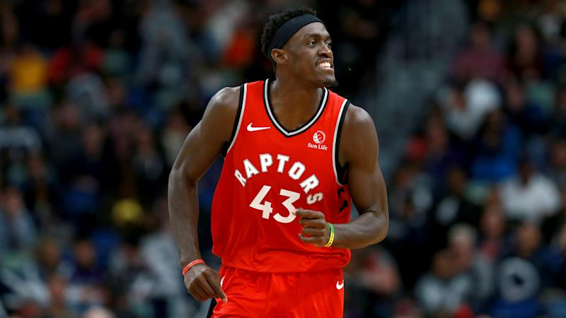 NEW ORLEANS, LOUISIANA - NOVEMBER 08: Pascal Siakam #43 of the Toronto Raptorsreacts after scoring a three pointer during a NBA game against the New Orleans Pelicans at the Smoothie King Center on November 08, 2019 in New Orleans, Louisiana. NOTE TO USER: User expressly acknowledges and agrees that, by downloading and or using this photograph, User is consenting to the terms and conditions of the Getty Images License Agreement. (Photo by Sean Gardner/Getty Images)