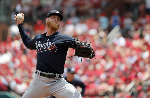 Atlanta Braves starting pitcher Mike Foltynewicz throws during the second inning of a baseball game against the St. Louis Cardinals, Sunday, July 1, 2018, in St. Louis. (AP Photo/Jeff Roberson)
