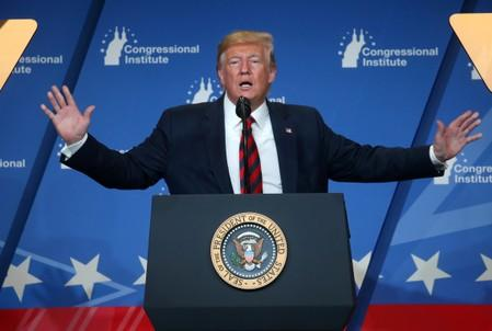 FILE PHOTO: U.S. President Trump speaks at a House Republican retreat in Baltimore, Maryland, U.S.