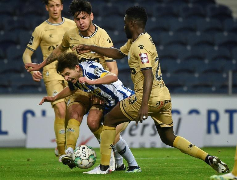 Francisco Conceicao (C) wins a late penalty for Porto against Boavista. The son of coach Sergio Conceicao made quite an impact on his top-flight debut