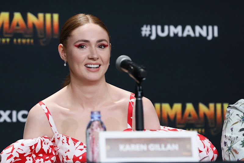 "Karen Gillan attends the ""Jumanji: The Next Level"" press conference at Montage Los Cabos on November 20, 2019. (Photo by Victor Chavez/Getty Images)"