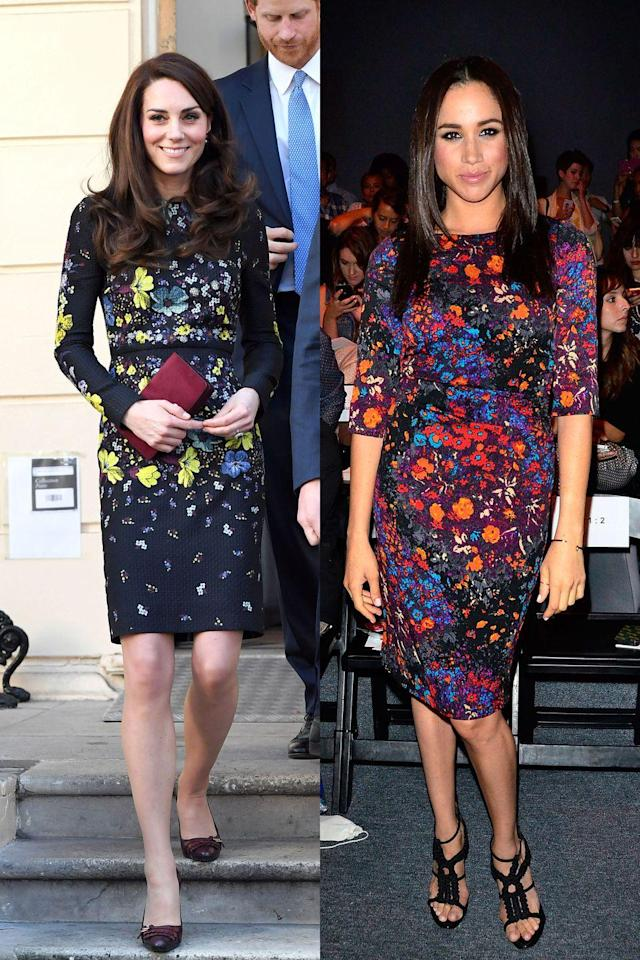 <p>Kate and Meghan rocked florals in moody, almost autumn-inspired palettes. Meghan was at the Tracy Reese show during New York Fashion Week, while Kate was attending a briefing to announce plans for the Heads Together charity. </p>