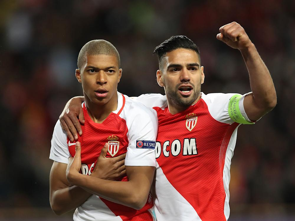 Kylian Mbappe celebrates opening the scoring with Falcao: Getty